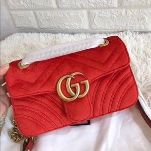 Gucci Marmont Mini Red Velvet Matelasse  Bag